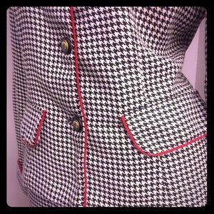 Houndstooth button-up long-sleeved blazer & skirt